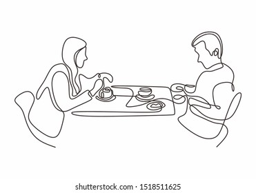 One line drawing of couple of man and woman eating vector illustration single hand drawn continuous sketch design.