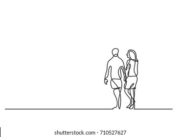 one line drawing of couple walking on beach