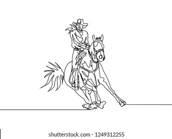 One line drawing of cowboy riding wild horse. Continuous line hand drawn of rodeo show concept. Vector illustration