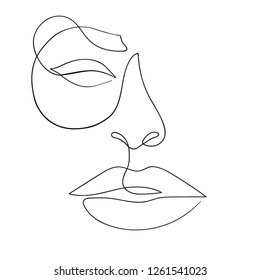 One line drawing face. Modern minimalism art, aesthetic contour. Abstract woman portrait minimalist style. Single line vector illustration