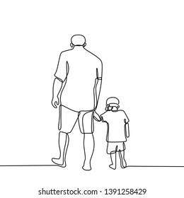 One line drawing of father and his son walking minimalist design