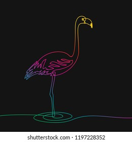 One line drawing of flamingo, Rainbow colors on black background vector minimalistic linear illustration made of continuous line
