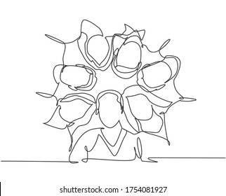 One line drawing of group of businessman and businesswoman creating circle and round shape as teamwork symbol. Business team building concept continuous line draw design graphic vector illustration