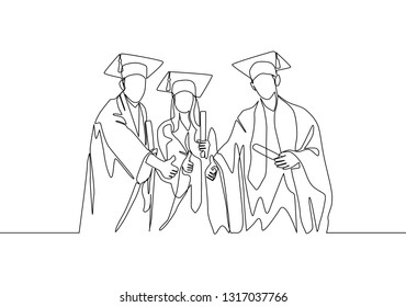 One line drawing group of young happy graduate male and female college student wearing gown and giving thumbs up gesture. Education concept continuous line draw design