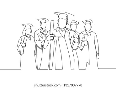 One line drawing group of young happy graduate male and female college student wearing gown and holding diploma certificate paper. Education concept continuous line draw design