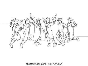 One line drawing group of young happy graduate male and female college student jumping wear gown and giving thumbs up gesture. Education concept continuous line draw design