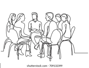 one line drawing of group of young people talking