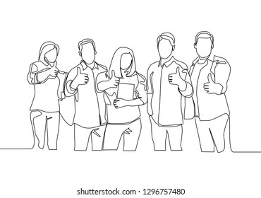 One line drawing of groups of happy students after studying together at library. Learn and study concept. Continuous line draw design