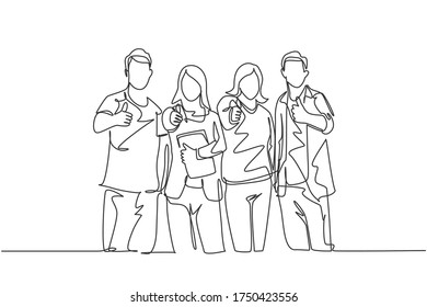 One line drawing of groups of happy college students giving thumbs up gesture after studying together at university library. Learn and study in campus life concept. Continuous line draw design vector