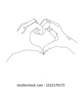 One line drawing hand in heart from two lovers