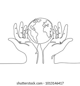 One line drawing of hands holding Earth globe. Save the planet concept.