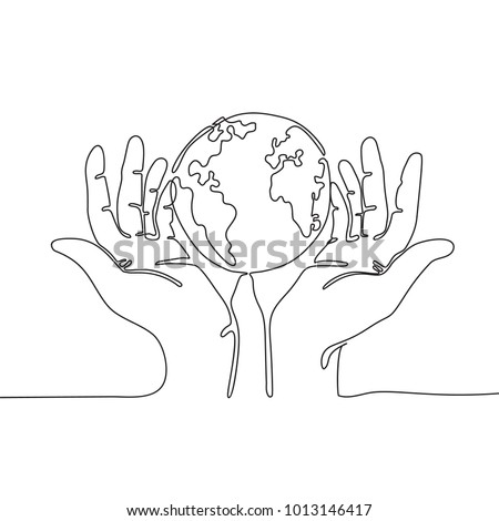 One Line Drawing Hands Holding Earth Stock Vector Royalty Free