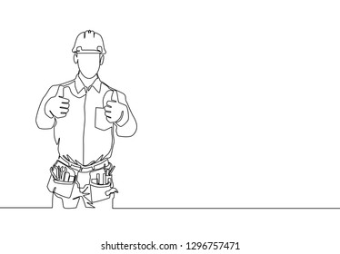 One line drawing of handyman wearing helmet and carrying tools gives thumbs up. Home maintenance concept. Continuous line draw design