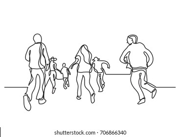one line drawing of happy people running