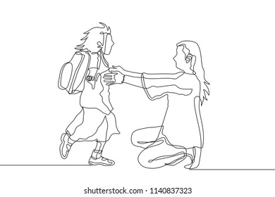 One line drawing of happy student girl run pursuing and hugging her mother after back from school. Single continuous line drawing back to school concept vector illustration