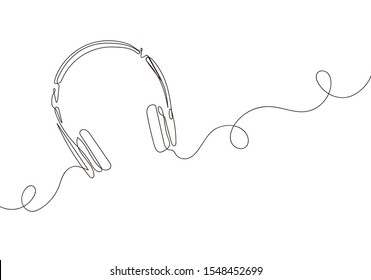 one line drawing of headphone speaker device gadget continuous lineart design isolated on white background. Music element for listening songs and playlist. EPS 10