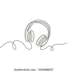 one line drawing of headphone speaker with grey color. Device gadget continuous line art design isolated on white background. Music element for listening songs and play list.