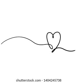 One line drawing - Heart. Beautiful tangled divider shape. Vector hand drawn graphic illustration - isolated