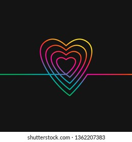 One line drawing of heart, Rainbow colors on black background vector minimalistic linear illustration of love concept made of continuous line