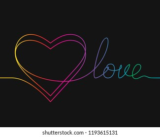One line drawing of heart and word LOVE, Rainbow colors on black background vector minimalistic linear illustration of love concept made of continuous line