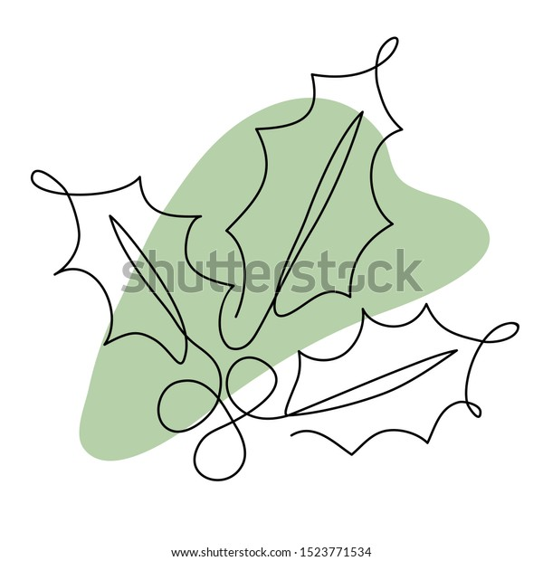 One Line Drawing Holly Berry Leaves Stock Vector Royalty Free 1523771534
