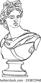 One line drawing illustration. Sculpture vector. Apollo Belvedere.