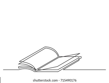 one line drawing of isolated vector object - open book with flying pages