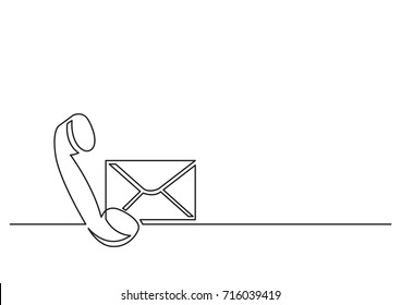one line drawing of isolated vector object - phone receiver and mail envelope