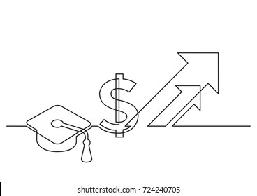 one line drawing of isolated vector object - growing cost of education