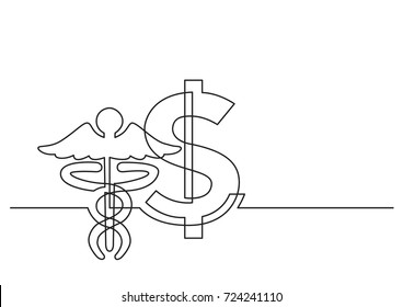 one line drawing of isolated vector object - dollar sign and symbol of medicine