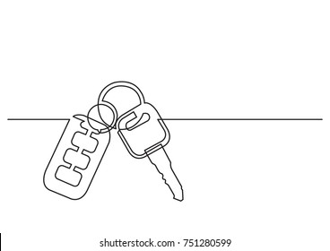 one line drawing of isolated vector object - car keys