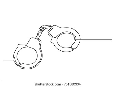 one line drawing of isolated vector object - handcuffs