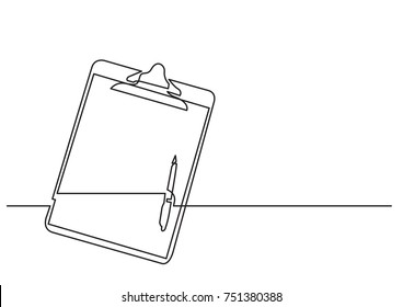 one line drawing of isolated vector object - clipboard with pen