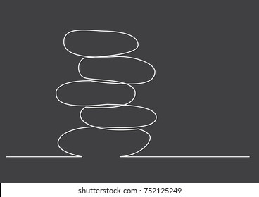 one line drawing of isolated vector object - rock balancing