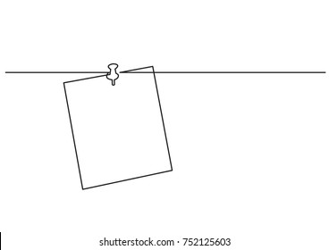 one line drawing of isolated vector object - paper note on push pin