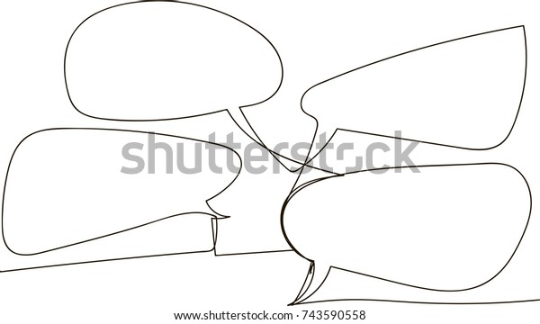 one line drawing of isolated vector object - speech bubbles
