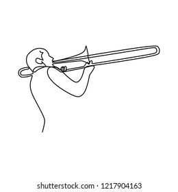 one line drawing of jazz trumpet player. classical music instrument vector illustration.
