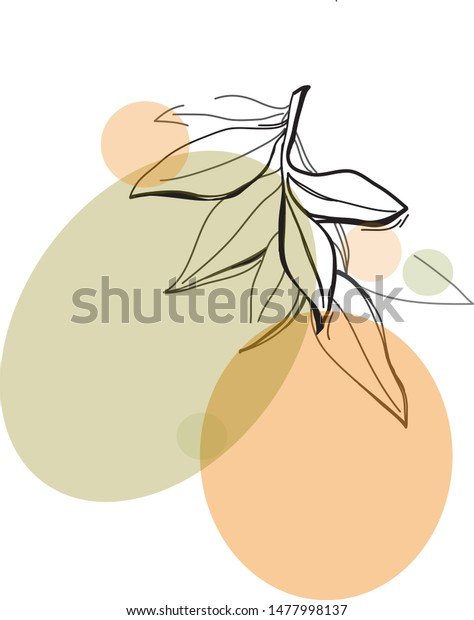 One Line Drawing Leafs Modern Single Stock Vector Royalty Free 1477998137