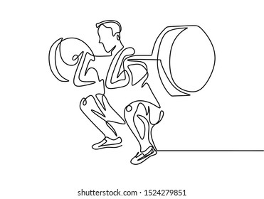 One line drawing of man body builder at gym. Male person workout with lifting barbells during a weightlifting session at gymnasium.