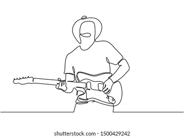 One line drawing of man with rock guitar electric. Country style of minimalism design with simplicity lineart.