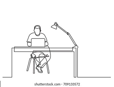 one line drawing of man working with laptop computer behind desk