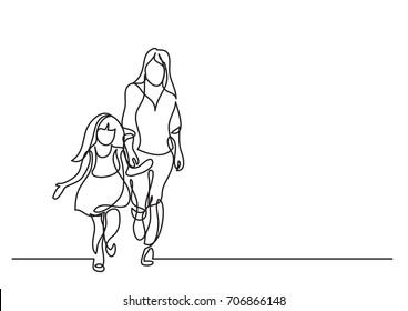 one line drawing of mother and daughter walking together