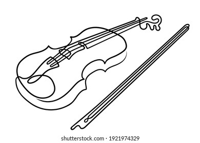 One line drawing. Musical acoustic instrument violin with strings and bow.