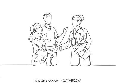 One line drawing of obstetrician and gynecologist doctor handshake and congratulate a happy young couple about the pregnancy. Medical check up concept. One line drawing vector illustration