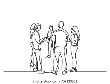one line drawing of office party with people standing and talking