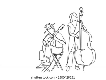 One line drawing of people playing classical music instrument. Man with acoustic guitar and girl with double bass isolated on white background. Continuous lineart sketch drawing vector illustration.