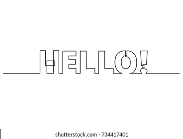 one line drawing of phrase - hello