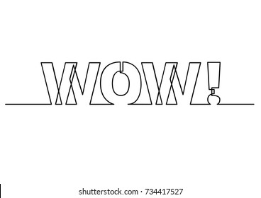 one line drawing of phrase - wow