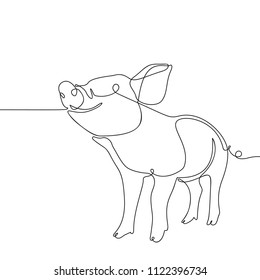 One line drawing of pig, Black and white vector minimalistic hand drawn illustration
