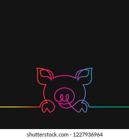 One line drawing of pig, Rainbow colors on black background vector minimalistic linear illustration made of continuous line